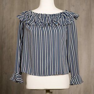 Divided by H&M Ruffle Striped Top Sz 8